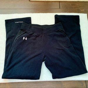 Under Armour Straight Leg Black Fleece Pants M